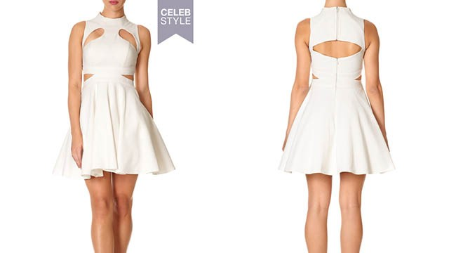 forever unique marley - Ivory High Neck Skater Dress with Cut-out Detail