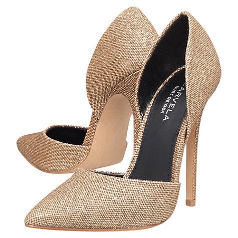 Carvela Albert High Heel Court Shoes, Gold Fabric