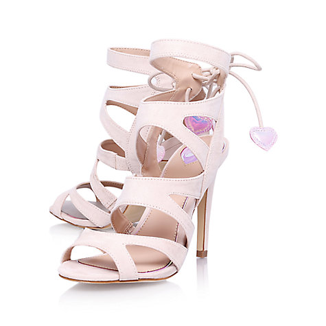 Miss KG Frenchy Cut Out Suede High Heel Sandals, Nude