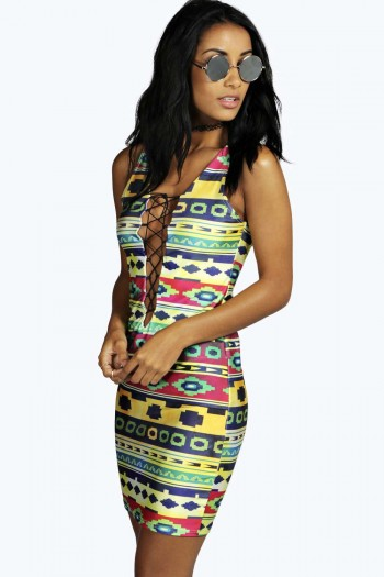 Claudia Lace Up High Shine Bodycon Dress
