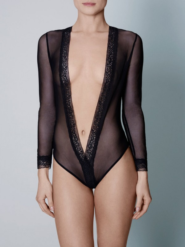 Coco de Mer Allegra Bodysuit - The most alluring of after dark looks comes in the form of our daring Allegra Bodysuit, an erotically charged mesh and lace creation to delight and excite lovers in AW15.