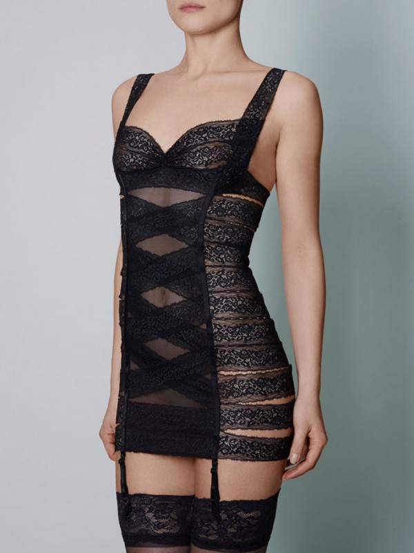 Coco de Mer Allegra Dress - Channeling a strong bondage aesthetic, the Allegra Dress is a statement choice for your after dark adventures. Adorn your form in wide strips of corded French Leavers lace embroidered with ornate botanical blooms and curlicues, and delight at the contrasting simplicity of clean mesh and bare skin £295.00
