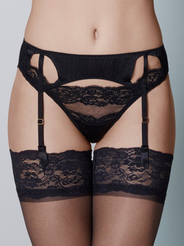 Coco de Mer Seraphine Suspender Belt - The finishing touch to your ensemble, our ethereal Seraphine Suspender is an opulent choice in jet black silk. Wear it to exude the unique confidence only a beautiful matching lingerie set affords £95.00