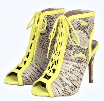 Kayla Lace Up Snake Cut Out Ankle Boots