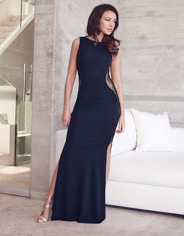 Lipsy Love Michelle Keegan Embroidered Maxi Dress, featuring low drape back and flattering side lace panels. Complete this glamorous look with heels and a glitzy clutch bag. £75.00