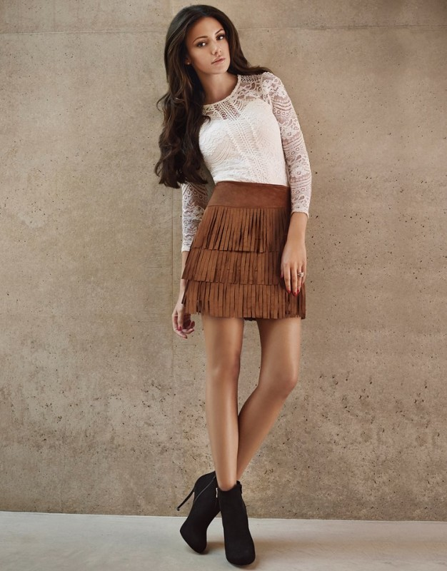 Lipsy Love Michelle Keegan suedette mini skirt in tan. Featuring on trend layered fringing.