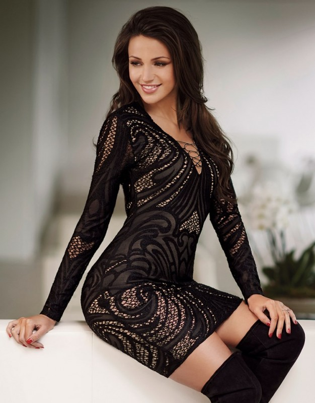 Lipsy Love Michelle Keegan bodycon dress in black. Featuring all over embroidery and plunge neckline. Complete this party outfit with heels and a clutch. £65.00