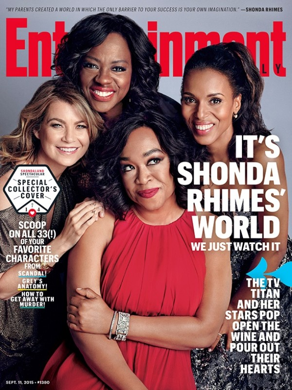 Shonda Rhimes sitting pretty with Ellen Pompeo, Voila and Kerry Washington  on Entertainment Weekly September 11, 2015 cover