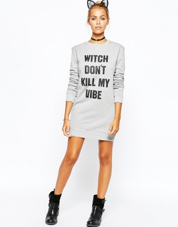 Adolescent Clothing Halloween Sweater Dress With Witch Don't Kill My Vibe Print