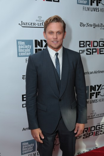 """Billy Magnussen arrives as DreamWorks Pictures and Fox2000 Pictures present the """"Bridge of Spies"""" world premiere at the New York Film Festival at Lincoln Center in New York on October 4, 2015 (Photo: Alex J. Berliner/ABImages)"""