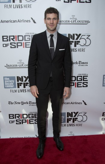"""Austin Stowel arrives as DreamWorks Pictures and Fox2000 Pictures present the """"Bridge of Spies"""" world premiere at the New York Film Festival at Lincoln Center in New York on October 4, 2015 (Photo: Alex J. Berliner/ABImages)"""