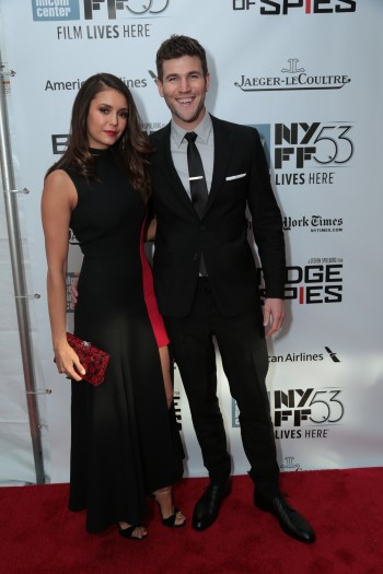 """Nina Dobrev and Austin Stowell arrive as DreamWorks Pictures and Fox2000 Pictures present the """"Bridge of Spies"""" world premiere at the New York Film Festival at Lincoln Center in New York on October 4, 2015 (Photo: Alex J. Berliner/ABImages)"""