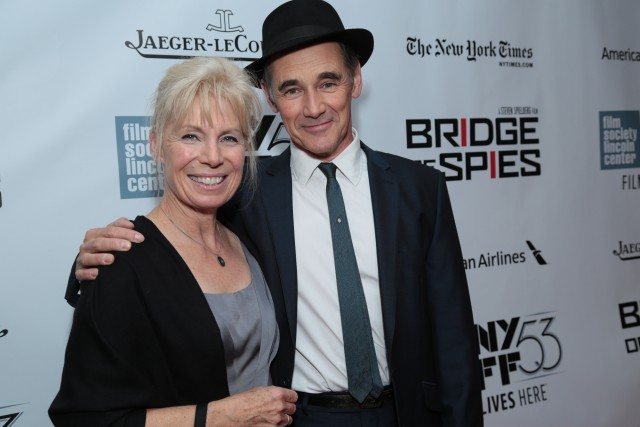 """Claire van Kampen  and Mark Rylance arrive as DreamWorks Pictures and Fox2000 Pictures present the """"Bridge of Spies"""" world premiere at the New York Film Festival at Lincoln Center in New York on October 4, 2015 (Photo: Alex J. Berliner/ABImages)"""