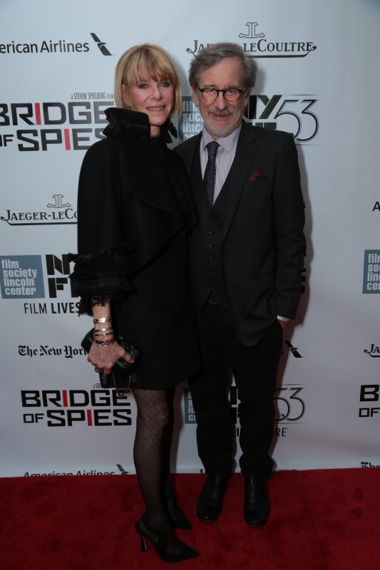 """Steven Spielberg and Kate Capshaw arrive as DreamWorks Pictures and Fox2000 Pictures present the """"Bridge of Spies"""" world premiere at the New York Film Festival at Lincoln Center in New York on October 4, 2015 (Photo: Alex J. Berliner/ABImages)"""