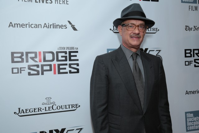 """Tom Hanks arrives as DreamWorks Pictures and Fox2000 Pictures present the """"Bridge of Spies"""" world premiere at the New York Film Festival at Lincoln Center in New York on October 4, 2015 (Photo: Alex J. Berliner/ABImages)"""