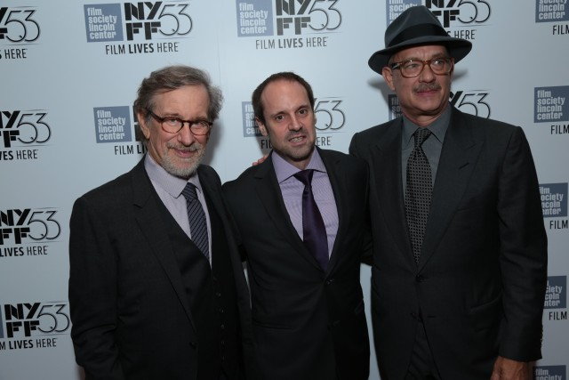 """Steven Spielberg, Jeff Skoll and Tom Hanks pose as DreamWorks Pictures and Fox2000 Pictures present the """"Bridge of Spies"""" world premiere at the New York Film Festival at Lincoln Center in New York on October 4, 2015 (Photo: Alex J. Berliner/ABImages)"""