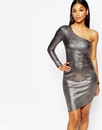 Fleur East By Lipsy One Shoulder Metallic Bodycon Dress £58.00 on ASOS