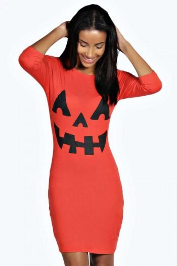 Hayley Pumpkin Print Halloween Bodycon Dress