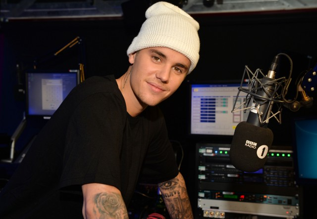 Justin Bieber pre-records a chat (to go out on Tuesday 27 Oct.) with Nick Grimshaw for his BBC Radio 1 Breakfast Show ,  on Friday 23 Oct.2015. Photo by Mark Allan/BBC