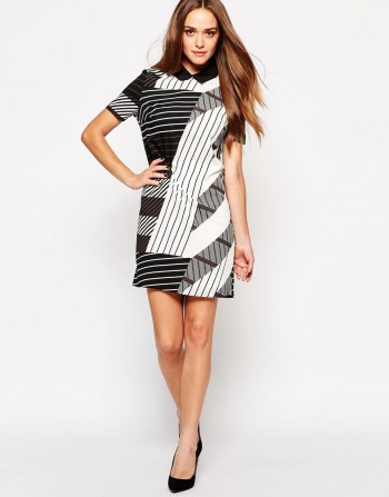 Lipsy Shift Dress with Monochrome Stripe Print