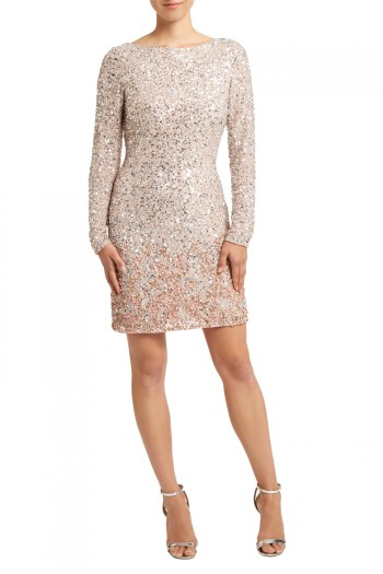 Dripping in ombre sequin embellishment, this stunning dress is the ultimate statement piece. The Lydie Sequin dress has a figure hugging shape and full length sleeves for gorgeous coverage.