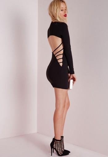 crepe long sleeve back detail bodycon dress black