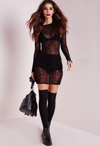 mesh cobweb print bodycon dress black