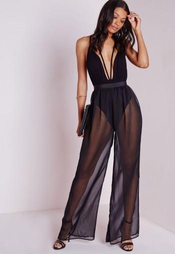 sheer pleated wide leg trousers black