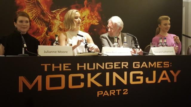 Jennifer Lawrence, Julianne Moore, Donald Sutherland and Natalie Dormer attend the UK Press Conference for The Hunger Games Mockingjay Part 2 - Photo Credit: Zehra Phelan