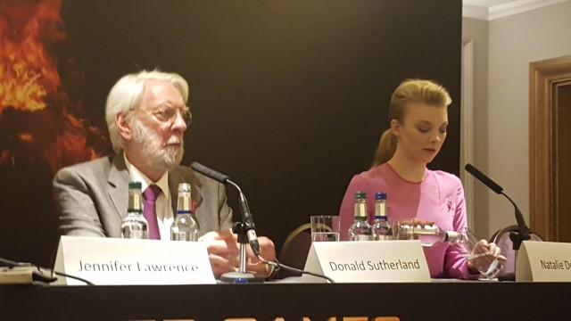 Donald Sutherland and Natalie Dormer attend the UK Press Conference for The Hunger Games Mockingjay Part 2 - Photo Credit: Zehra Phelan