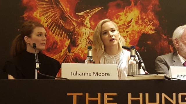 Jennifer Lawrence, Julianne Moore,  attend the UK Press Conference for The Hunger Games Mockingjay Part 2 - Photo Credit: Zehra Phelan