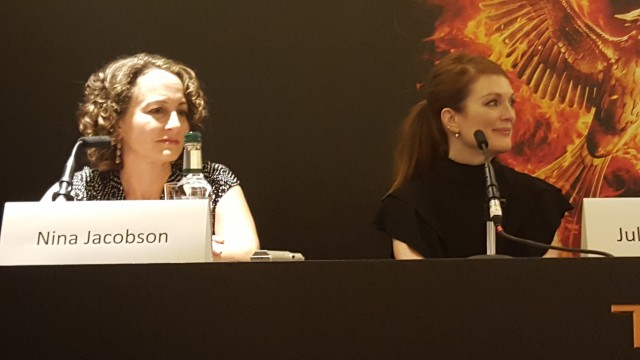 Producer, Nina Jacobson & Julianne Moore, attend the UK Press Conference for The Hunger Games Mockingjay Part 2 - Photo Credit: Zehra Phelan