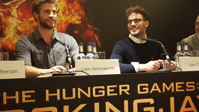 Liam Hemsworth and Sam Clafin attend the UK Press Conference of The Hunger Games Mockingjay Part 2. Photo Credit: Zehra Phelan