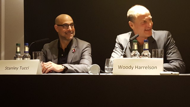 Stanley Tucci, Woody Harrelson, attend the UK Press Conference of The Hunger Games Mockingjay Part 2. Photo Credit: Zehra Phelan