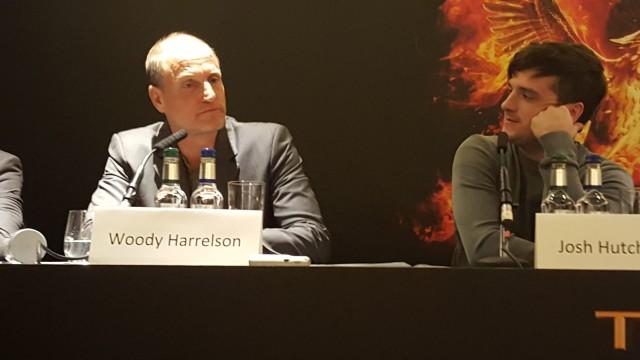 Woody Harrelson, Josh Hutcherson attend the UK Press Conference of The Hunger Games Mockingjay Part 2. Photo Credit: Zehra Phelan