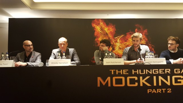 Stanley Tucci, Woody Harrelson, Josh Hutcherson, Liam Hemsworth and Sam Clafin attend the UK Press Conference of The Hunger Games Mockingjay Part 2. Photo Credit: Zehra Phelan