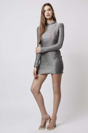 High Neck Chainmail Bodycon Dress