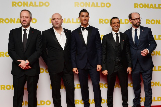 09/11/2015 'Ronaldo' World Premiere at Vue, Leicester Square Anthony Wonke, Paul Martin, Cristiano Ronaldo, Jorge Mendes and James Gay-Rees