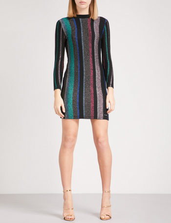TED BAKER Colour By Numbers Maryan striped metallic-knit mini dress