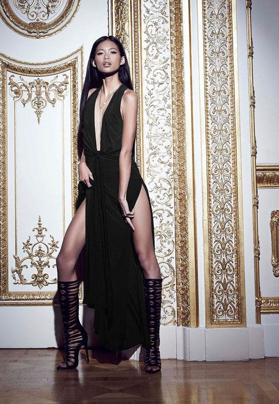 peace + love plunge maxi dress black
