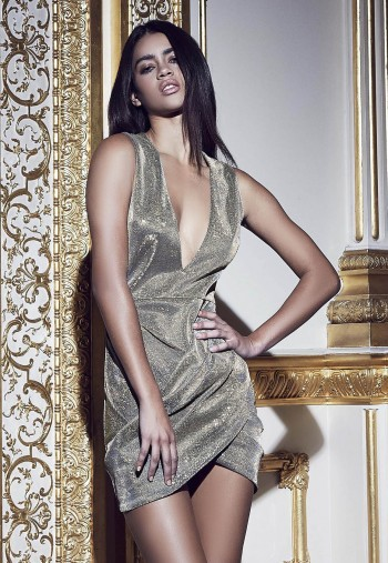 peace + love plunge metallic wrap dress gold