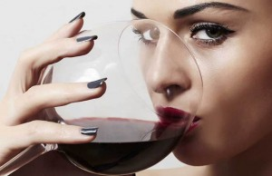 beautiful women, drink a glass of wine