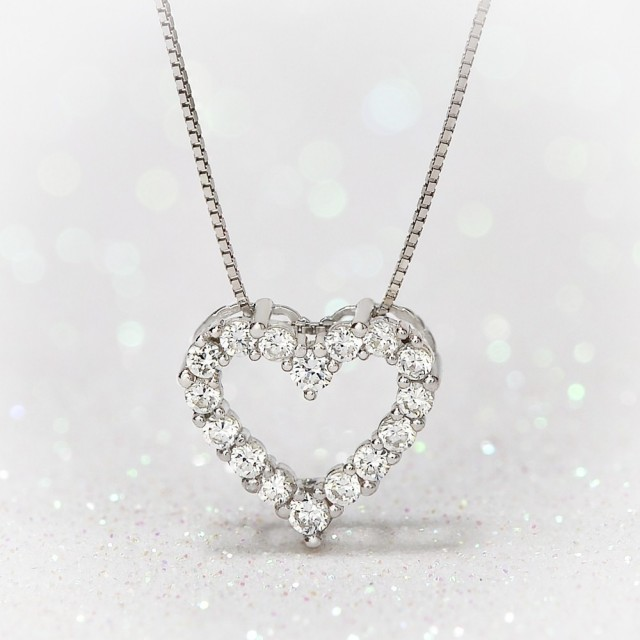 9ct White Gold Sweetheart CZ Necklace