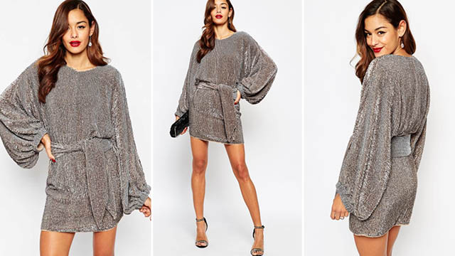 ASOS RED CARPET Oversized Kaftan Mini Dress In Sequin Christmas Themed Dresses