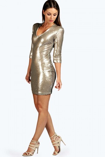 Boutique Nicola Antique Sequin Bodycon Dress