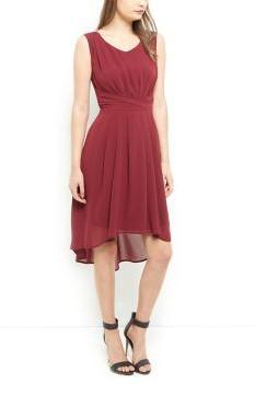 Burgundy Dip Hem Chiffon Dress