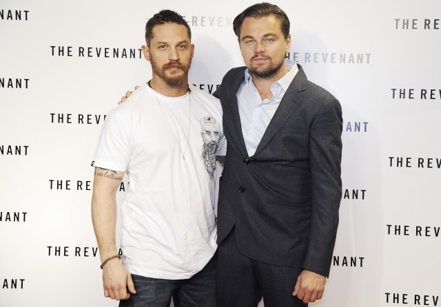 LONDON, ENGLAND - DECEMBER 06:  Leonardo DiCaprio (R) and Tom Hardy attend a BAFTA screening of 'The Revenant' at Empire Leicester Square on December 6, 2015 in London, England.   Pic. Credit: Dave J Hogan
