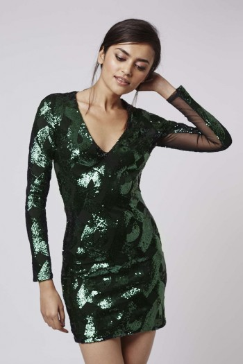 Deep V-Plunge Sequin Dress