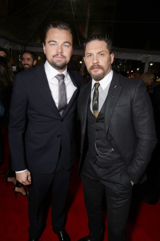 Leonardo DiCaprio and Tom Hardy seen at Twentieth Century Fox World Premiere of 'The Revenant' at TCL Chinese Theatre on Wednesday, Dec. 16, 2015, in Hollywood, CA. (Photo by Eric Charbonneau/Invision for Twentieth Century Fox/AP Images)