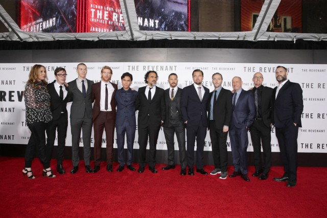 Cast and crew of 'The Revenant' seen at Twentieth Century Fox World Premiere of 'The Revenant' at TCL Chinese Theatre on Wednesday, Dec. 16, 2015, in Hollywood, CA. (Photo by Eric Charbonneau/Invision for Twentieth Century Fox/AP Images)